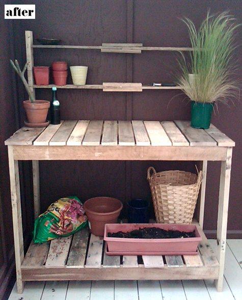 Établi de jardin en palettes
