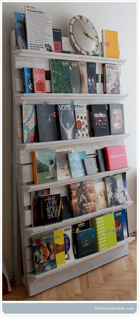 Bibliothèque pour magazines en palettes