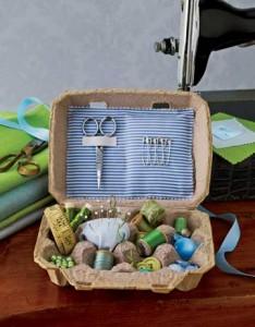 Kit de couture en boîte à oeufs