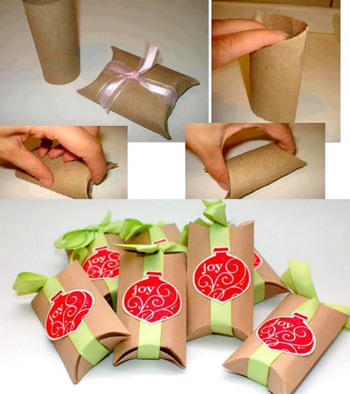 Pochette cadeau en rouleau de papier wc