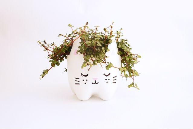 Pot de fleurs diy chat bouteille en plastique
