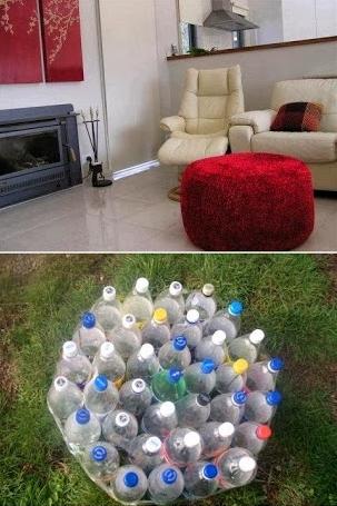 Pouf en bouteilles en plastique
