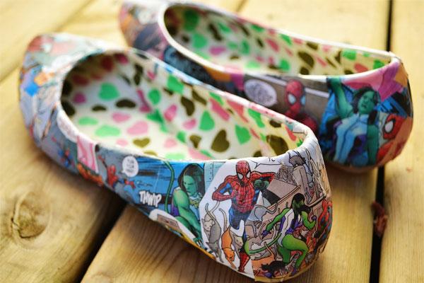 Chaussures customisées comics